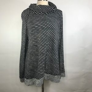 Lou & Grey Long Sleeve Cowl Neck Striped Top XXL
